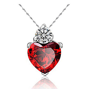 cheap Necklaces-Women's Garnet Pendant Necklace Pear Cut Drop Heart Classic Platinum Plated Purple Red Silver 45 cm Necklace Jewelry 1pc For Daily