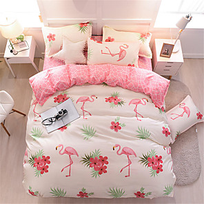 cheap Solid Duvet Covers-Flamingo Pink Bedding Sets Duvet Cover Sets Contemporary Polyster Printed 4 PieceBedding Sets
