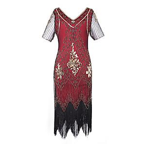 cheap Wedding Wraps-Latin Dance Dance Costumes Dress Tassel Paillette Women's Party Performance Short Sleeve Terylene Polyester Taffeta