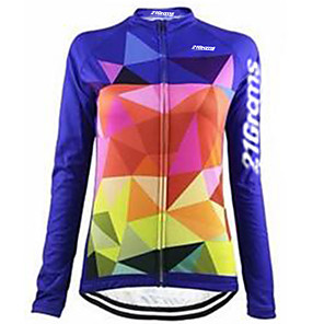 cheap Cycling Jerseys-21Grams Women's Long Sleeve Cycling Jersey Winter Fleece Spandex Polyester Blue Plaid / Checkered Bike Jersey Top Mountain Bike MTB Road Bike Cycling Thermal / Warm UV Resistant Breathable Sports