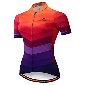 cheap Cycling Jerseys-Miloto Women's Short Sleeve Cycling Jersey Winter Blue+Orange Gradient Bike Jersey Mountain Bike MTB Moisture Wicking Reflective Strips Back Pocket Sports Clothing Apparel / Stretchy