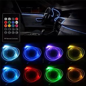 cheap Car Decoration Lights-1pcs RGB LED Strip Light Filler Gap Decoration Neon Interior Floor Lamp Flexible Tube with Remote Control 5m