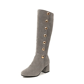 cheap Women's Boots-Women's Boots Low Heel Round Toe Suede Mid-Calf Boots Fall & Winter Black / Brown / Gray