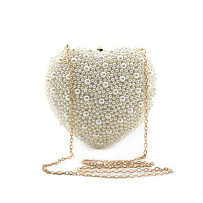 cheap Clutches & Evening Bags-Women's Crystals / Pearls Polyester / Alloy Evening Bag Solid Color Milky White
