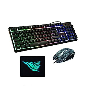 cheap Mouse Pad-USB Wired Optical Keyboard Mouse and Pad Gamers 3 Pieces a Kit Illuminous Keys for Desktop Laptop