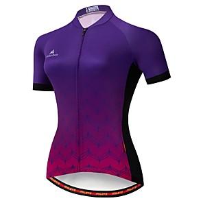 cheap Cycling Jerseys-Miloto Women's Short Sleeve Cycling Jersey Winter Black / Blue Gradient Bike Jersey Mountain Bike MTB Moisture Wicking Reflective Strips Back Pocket Sports Clothing Apparel / Stretchy