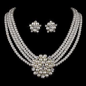 cheap Necklaces-Women's Pearl Jewelry Set Earrings Bracelet Layered Flower Ladies Luxury Elegant European Fashion Birthstones Imitation Pearl Rhinestone Silver Plated Earrings Jewelry White / Necklace & Earrings