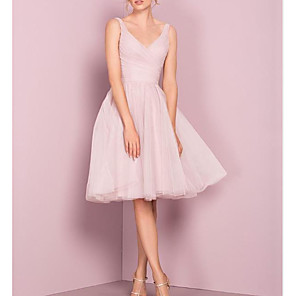 cheap Party Hats-A-Line V Neck Knee Length Tulle Bridesmaid Dress with Pleats