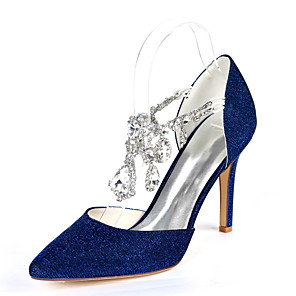 cheap Wedding Shoes-Women's Wedding Shoes Glitter Crystal Sequined Jeweled Stiletto Heel Pointed Toe Rhinestone Synthetics Minimalism Fall / Spring & Summer Red / Gold / Royal Blue / Party & Evening