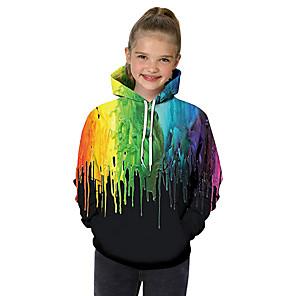 cheap Kids' LED Shoes-Kids Toddler Girls' Active Basic Black & White Geometric Galaxy Color Block Print Long Sleeve Hoodie & Sweatshirt Black