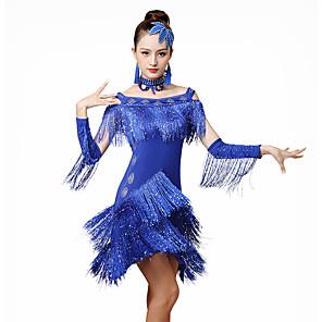 cheap Latin Dancewear-Latin Dance Dress Tassel Crystals / Rhinestones Women's Training Performance Half-Sleeve Natural Ice Silk