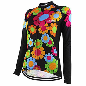 cheap Cycling Jerseys-21Grams Floral Botanical Women's Long Sleeve Cycling Jersey - Black / Red Bike Jersey Top Thermal / Warm UV Resistant Breathable Sports Winter Fleece 100% Polyester Mountain Bike MTB Road Bike Cycling