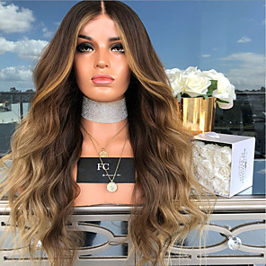 cheap Costume Wigs-Synthetic Wig Body Wave Middle Part Wig Blonde Long Light Blonde Synthetic Hair 26 inch Women's Women Blonde