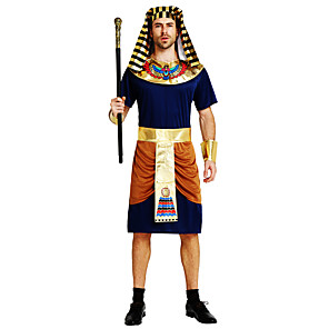 cheap Men's & Women's Halloween Costumes-Pharaoh Cosplay Costume Outfits Masquerade Adults' Men's Cosplay Halloween Halloween Festival / Holiday Polyster Ink Blue Men's Carnival Costumes / Leotard / Onesie / Belt / Headwear / Neckwear