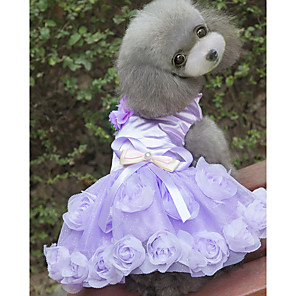 cheap Dog Clothes-Dogs Dress Dog Clothes Purple Fuchsia Costume Polyster Floral / Botanical Wedding XS S M L XL XXL