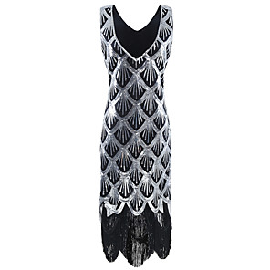cheap Historical & Vintage Costumes-The Great Gatsby 1920s Vintage Inspired Flapper Costume Dress Party Costume Women's Sequins Tassel Sequin Costume Silver Vintage Cosplay Party Party & Evening Sleeveless Knee Length