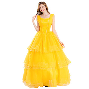 cheap Anime Costumes-Belle Dress Masquerade Women's Movie Cosplay Cosplay Halloween Yellow Dress Halloween Carnival Masquerade Polyster