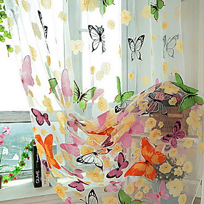 cheap Wall Stickers-Floral Sheer One Panel Sheer Girls Room   Curtains