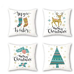 cheap Throw Pillow Covers-Set of 4 Linen Pillow Cover, Botanical Cartoon Traditional Christmas Throw Pillow