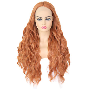 cheap Synthetic Lace Wigs-Synthetic Lace Front Wig Wavy Body Wave Free Part Lace Front Wig Blonde Long Orange Synthetic Hair 8-12 inch Women's Soft Elastic Women Blonde / Glueless
