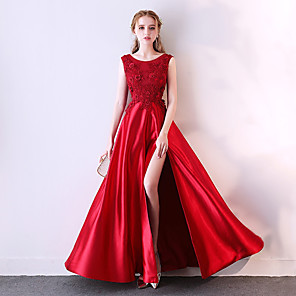 cheap Latin Dancewear-A-Line Elegant Sparkle & Shine Prom Dress Jewel Neck Sleeveless Floor Length Satin Tulle Polyester with Pleats Split Front 2020