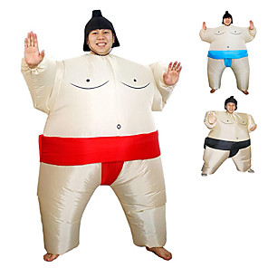 cheap Men's & Women's Halloween Costumes-Wrestler Sumo Cosplay Costume Halloween Props Masquerade Men's Women's Movie Cosplay Red / Blue / Black More Accessories Halloween Carnival Children's Day Polyester