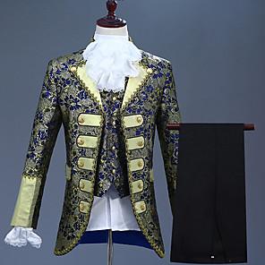 cheap Historical & Vintage Costumes-Prince Retro Vintage Medieval Coat Corset Pants Outfits Men's Costume Purple / Ink Blue / Ocean Blue Vintage Cosplay Party Long Sleeve Pantsuit / Jumpsuit / Vest / Vest