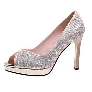 cheap Women's Heels-Women's Heels Glitter Crystal Sequined Jeweled Stiletto Heel Peep Toe Microfiber Summer Gold / Silver / Daily