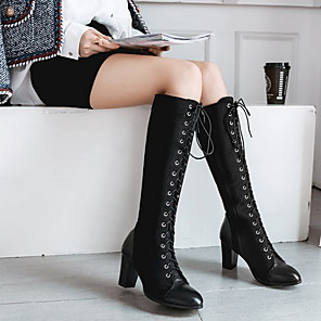 cheap Women's Boots-Women's Cosplay Boots Boots Knee High Boots Chunky Heel Round Toe Daily PU Knee High Boots Winter Black / Green / Brown