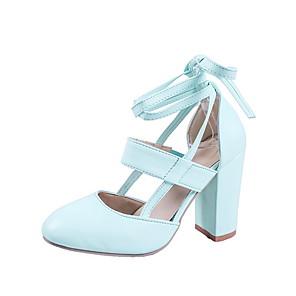cheap Women's Heels-Women's Heels Chunky Heel Round Toe PU Summer Black / Red / Blue