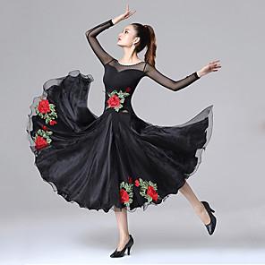 cheap Ballroom Dancewear-Ballroom Dance Dress Embroidery Split Joint Crystals / Rhinestones Women's Training Performance Long Sleeve Chinlon Mesh Spandex