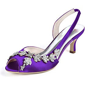 cheap Wedding Shoes-Women's Wedding Shoes Glitter Crystal Sequined Jeweled Plus Size Stiletto Heel Peep Toe Minimalism Wedding Party & Evening Rhinestone Solid Colored Satin White / Black / Purple