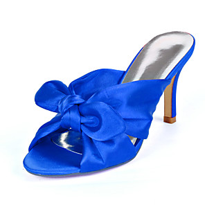 cheap Wedding Shoes-Women's Wedding Shoes Stiletto Heel Open Toe Bowknot Satin Sweet Fall / Spring & Summer Black / White / Purple / Party & Evening