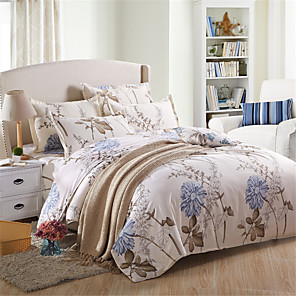 cheap Solid Duvet Covers-Duvet Cover Sets Solid Colored / Floral Polyster Printed 4 PieceBedding Sets
