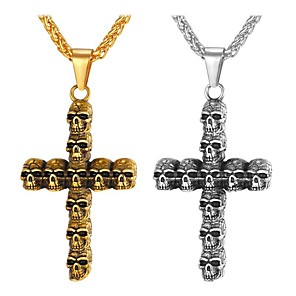 cheap Pendant Necklaces-Men's Pendant Necklace Necklace Classic Cross Skull Vintage Trendy Ethnic Fashion Chrome Gold Silver 65 cm Necklace Jewelry 1pc For Daily