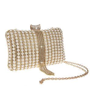 cheap Clutches & Evening Bags-Women's Pearls / Tassel Polyester Evening Bag Solid Color Black / Gold / Silver