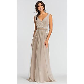 cheap Wedding Decorations-A-Line Elegant Prom Dress V Neck Sleeveless Sweep / Brush Train Tulle with Sash / Ribbon Pleats Appliques 2020