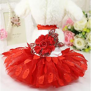 رخيصةأون ملابس الكلاب-كلاب الفساتين الأزهار / النباتية الزفاف حفلة الزفاف ملابس الكلاب أحمر كوستيوم بوليستر XS S M L XL XXL