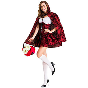 cheap Historical & Vintage Costumes-Little Red Riding Hood Dress Cosplay Costume Cloak Party Costume Adults' Women's Cosplay Halloween Halloween Festival / Holiday Cotton / Polyester Blend Red Women's Easy Carnival Costumes