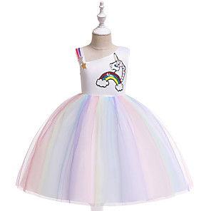 cheap Movie & TV Theme Costumes-Unicorn Dress Cosplay Costume Masquerade Girls' Movie Cosplay A-Line Slip Cosplay Halloween Purple / Yellow Dress Halloween Children's Day Masquerade Tulle Poly / Cotton Blend