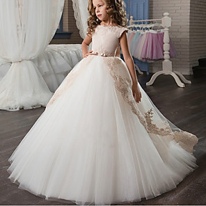 cheap Movie & TV Theme Costumes-Kids Girls' Formal Flower Cute Party Birthday Color Block Lace Bow Tulle Sleeveless Maxi Dress White