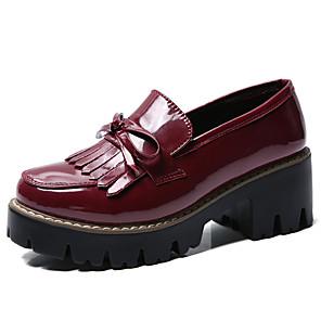 hesapli Kadın Düz Ayakkabıları ve Makosenleri-Kadın's Mokasen & Bağcıksız Ayakkabılar Kalın Topuk Yuvarlak Uçlu Deri İlkbahar yaz Siyah / Şarap
