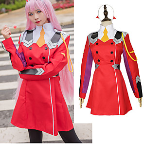 cheap Videogame Costumes-Inspired by Darling in the Franxx Cosplay Anime Cosplay Costumes Japanese Cosplay Suits Dress Socks Headwear For Women's