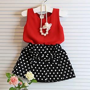 cheap Boys' Clothing Sets-Kids Girls' Basic Polka Dot Sleeveless Clothing Set Red