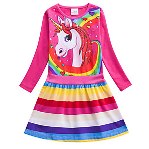 cheap Everyday Cosplay Anime Hoodies & T-Shirts-Kids Girls' Active Cute Blue & White Red Unicorn Striped Rainbow Cartoon Print Long Sleeve Knee-length Dress Blue