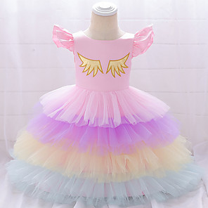 cheap Movie & TV Theme Costumes-Unicorn Dress Cosplay Costume Masquerade Girls' Movie Cosplay A-Line Slip Cosplay Halloween Purple / Yellow / Pink Dress Halloween Children's Day Masquerade Tulle Poly / Cotton Blend