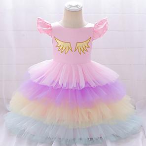 cheap Movie & TV Theme Costumes-Unicorn Dress Cosplay Costume Masquerade Girls' Movie Cosplay A-Line Slip Cosplay Halloween Purple / Yellow / Pink Dress Halloween Children's Day Masquerade Tulle Poly / Cotton Blend