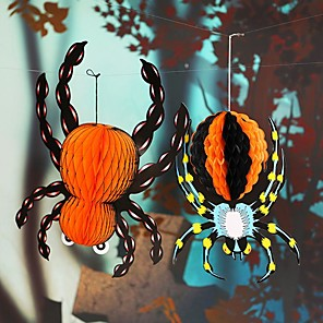 cheap Christmas Decorations-Halloween paper hanging spider design accessories night hanging ornaments for party Halloween decoration