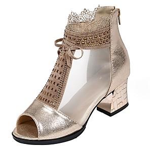 cheap Women's Sandals-Women's Sandals Mesh Chunky Heel Open Toe Synthetics Spring & Summer Gold / Black