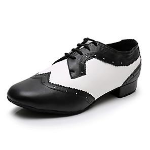 cheap Ballroom Shoes & Modern Dance Shoes-Men's Modern Shoes / Ballroom Shoes PU Lace-up Heel Thick Heel Dance Shoes Black / White / Performance / Practice